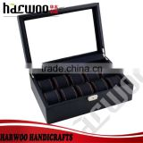 10 slot elaborate pu leather watch box,watch display box with different color cushion,watch box with transparent window