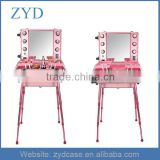 Case,Make up case Type and Aluminum Material Aluminium Rolling Studio Cosmetic Case With Lighted Mirror ZYD-HZMmlc005