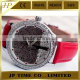 Wholesale fashion watch wrist watch tree diamond dial vogue lady watch leather cheap price watches