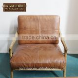 Wholesale Wooden Frame And Genuine Leather Combination Armchair,Luxury Sofas,Coffee Sofa