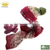 Sexy women wholesale knitted scarf beanie and glove sets wholesale winter hats and gloves