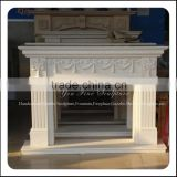Chinese White Marble Fireplace Frame Wooden