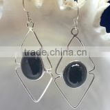 925 Sterling Silver Black Onyx Cabochon Oval Earrings , Fashionable Bezel Earrings, Designer Black Onyx Earrings