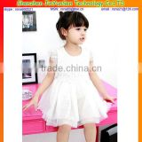 Pure white angel little girls ball gown birthday party dresses for girls of 7 years old