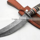 A QUALITY MAKER STAG HORN HANDLE, DAMASCUS STEEL HUNTING TANTO BOWIE KNIFE