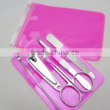Simple packed 5 in 1 nail clipper file eyebow tweezer scissor ear pick of manicure pedicure set