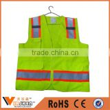 Good quality motorcycle reflective safety vest with pockets for policeman on roadway walking use