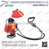 gasoline backpack brush cutter with nylon cutter and metal blade