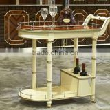European Style Luxury Wooden Dining Car, Fashionable Villa Convenient Tea/Wine Serving Trolley (BF01-ML021)