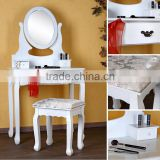 Bedroom Dressing Table with Stool and Mirror, Wooden Dresser, Make-up Set Bedroom Furniture