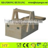 wholesale pine wooden Sewing Box Folding Out Storage craft or sewing solid wood box unfinished
