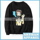 Black Hoody with Digital Printing Men's Hoodies OEM Cotton Casual Loose Hoody For Man Autumn/Spring Sweater
