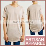Brown Long Line T-Shirt 2016 New Trendy Wholesale casual Plain T-shirts with O-neck in Black