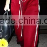 Womens 100% polyester red and Khaki panels 1/4 zip up jacket and pants sports tracksuits set