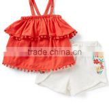 New fashion baby clothes european baba suit design 100%cotton clothes of two pieces toddler clothing