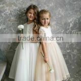 White Tulle Lace Cap Sleeve Kids Clothing Wholesale Flower Girl Dress Bridesmaid Robes