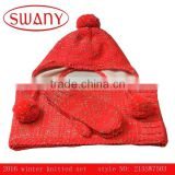 2016 fashion kids knitted hatscarf hat & gloves set,red gloves hat and scarf set,acrylic scarf hat & gloves set