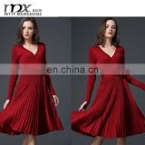 Ladies fashion dresses with pictures pleated knitting ladies dress names of dresses for women elegant