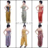 Fashion Casual Jumpsuit- Floral Vintage Silk Jumpsuit -Indo Western Jumpsuit Boho Trouser Pants Style