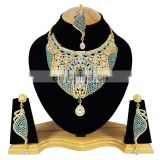 Wedding Designer Gold Plated Bollywood Party wear Jewelry Necklace Set Turquoise Color