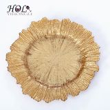 Elegant gold dinner charger plates factory wholesale 13inch glass plates for decoration or wedding