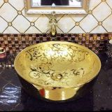 Round golden color ceramic plated wash basin bathroom