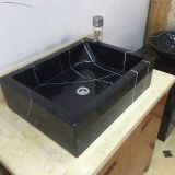 China Black Marble Sinks,Black Marqunia Marble Round Sinks, Marble Basins
