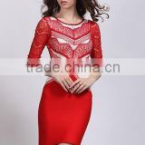 White And Red Lace Mid Sleeve 2015 Knitted O-neck New Fashion Bodycon HL Bandage Dress Celebrity Bodycon Bondage Elegant Dresses