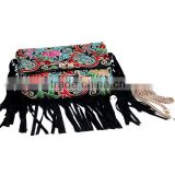 cotton embroidery metal chain tassel clutch bag,2015 lastest style