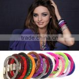 15 colors Micro beads with Mesh stardust bracelet with magnetic clasp jewelry Woman bangles