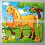Wooden horse puzzles, 12 animals (Chinese zodiac) puzzles, educational puzzles, wooden Jigsaw puzzles,