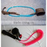 OEM Durable and Economy Colorful Straight/Coiled Surfboard Leash With Brass/ Stainless Steel Swivel, Ankle Cuff, Leg Rope