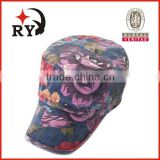 summer black flat caps with applique for kids