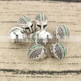 CZ6715 CZ Micro Pave Silver Helmet Beads,Men's Bracelet Supplies,Men's Jewelry Accessory