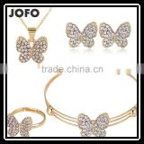 Korean Style Butterfly Crystal Fine African Beads Jewelry Sets Animal Pendant Set For Party Wedding Bridal Accessories