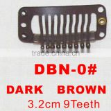DBN-0# Retail and wholesale 32mm long Dark Brown color 9 straight teeth easy snap clips for hair extensions wigs wefts weavings