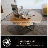 2016 New Design Fashion Stainless Steel Frame Wood Round Tea Table