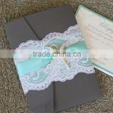 Hot sale personalized black letterpress lace wedding invitations with white laces&blue ribbons & ivory starfish