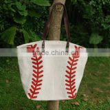 Wholesale Domil Blanks Cotton Canvas Baseball Bags Sport Tote Bags with Magnetic Snap Closure