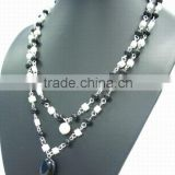 Hot sell necklace black agate with white glass button necklace jewelry