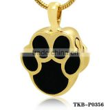 Hot Sell Gold Plated Tag Black Paw Pet Cremation urns Chain Pendant Forever Keepsake Our Pets