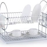LBY wholesale 2 tiers metal wire dish rack & drainer