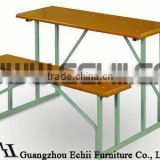 Wooden school desk with bench/School desk and bench/Student desk with bench/Student bench desk