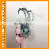 PGHD0670 Headwear lady hair clip peacock feather mini hat rhinestone fascinator burlesque