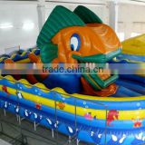 2014 hot sale small inflatable fun city amusement park, bouncy castle game, ugly fish toy for kids