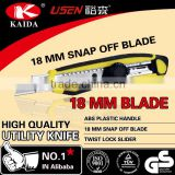 18mm Snap Off Blade Plastic with rubber grip handle Screw lock cutter knife