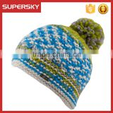 A-628 Men Hand Knitted Fleece Pom Beanie Chunky Fleece Winter Pom Hat Men Wool Fleece Lined Beanie