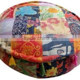 RTP - Indian Handmade Patchwork Cotton Pouf Printed Ottoman Old Kantha Patchwork Ethnic Floor cushion Jaipur manufacturer