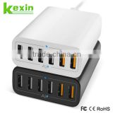Qick Charge 2.0 Multi Charger 6 Port Portable USB Charging Station 5V/9V/12 50W Desktop Charger for Family/Restaurant