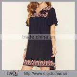 Chic Factory Price Split Neck Embroidered Hem Self-Tying Tassel Ends Shift Woven Beach Dress